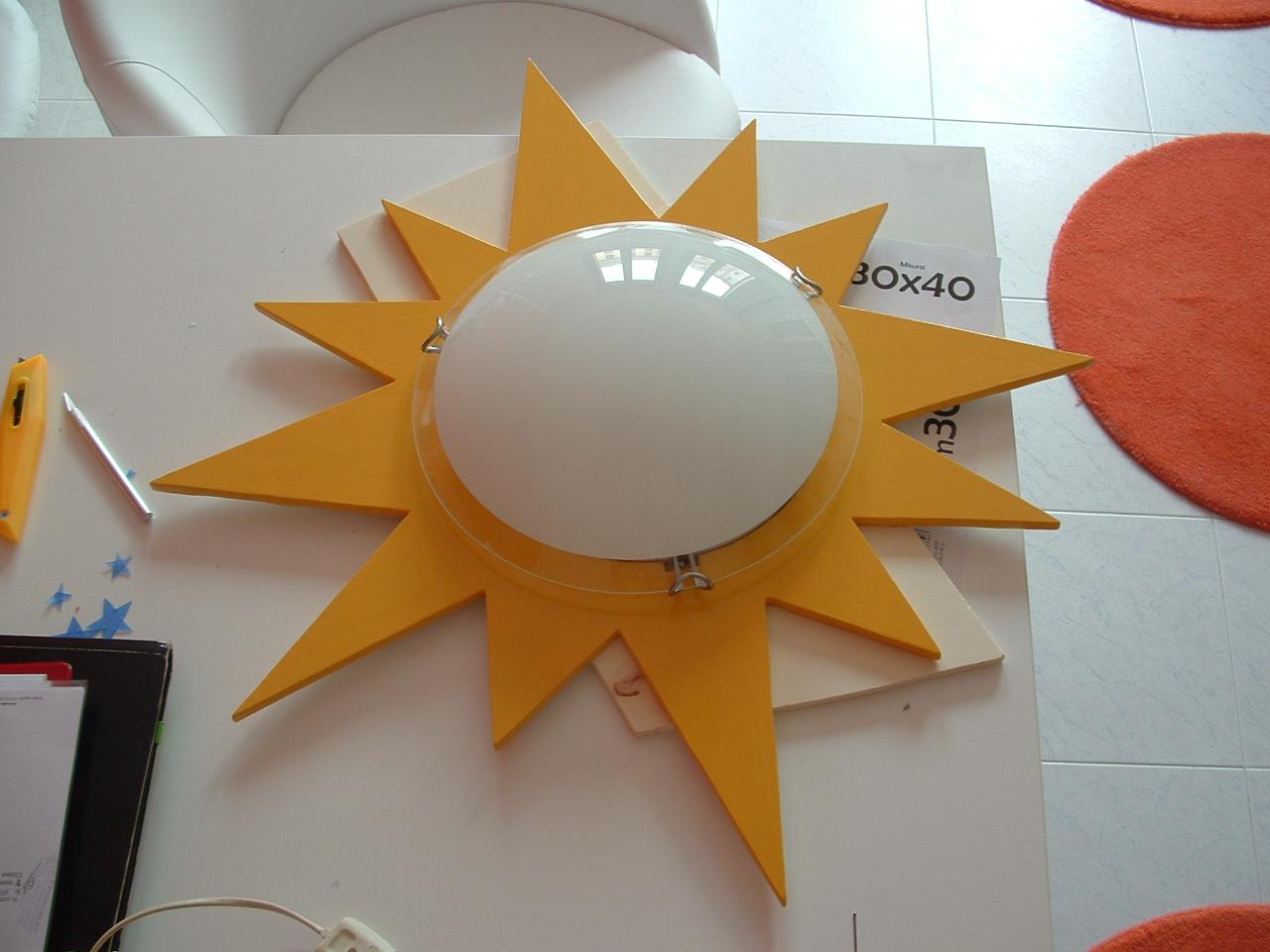 Plafoniera Cameretta Bambini : Ricicla e crea plafoniera sole