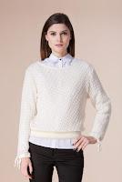 Pulover alb din lana D2229 (Ama Fashion)