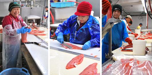 Filetieren von Lachs