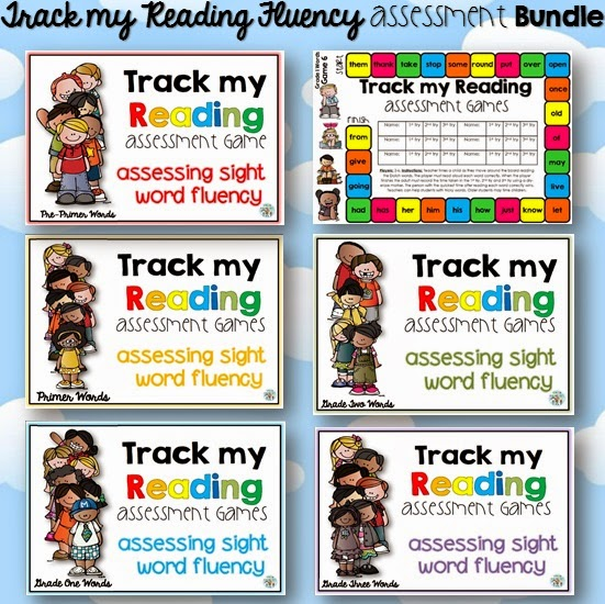 Track my Reading Fluency Assessment Games the BUNDLE Pre-Primer, Primer, Grade One, Grade Two and Grade 3 Dolch words.  Do you need to assess your students' sight word and HFW fluency?