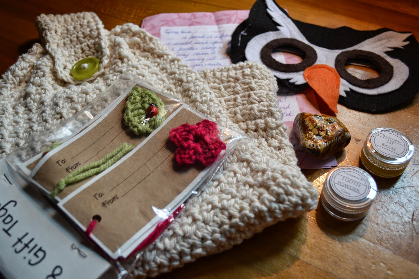 2fad35c3065 There was a happy mail day around here this week, my package from Amanda's  summer blog swap arrived. It was filled with a beautiful crocheted tea  towel, ...