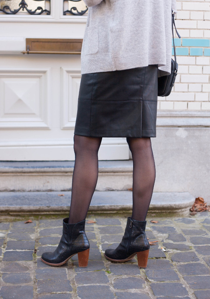 outfit: creative professional in faux leather pencilskirt, croc ankle boots