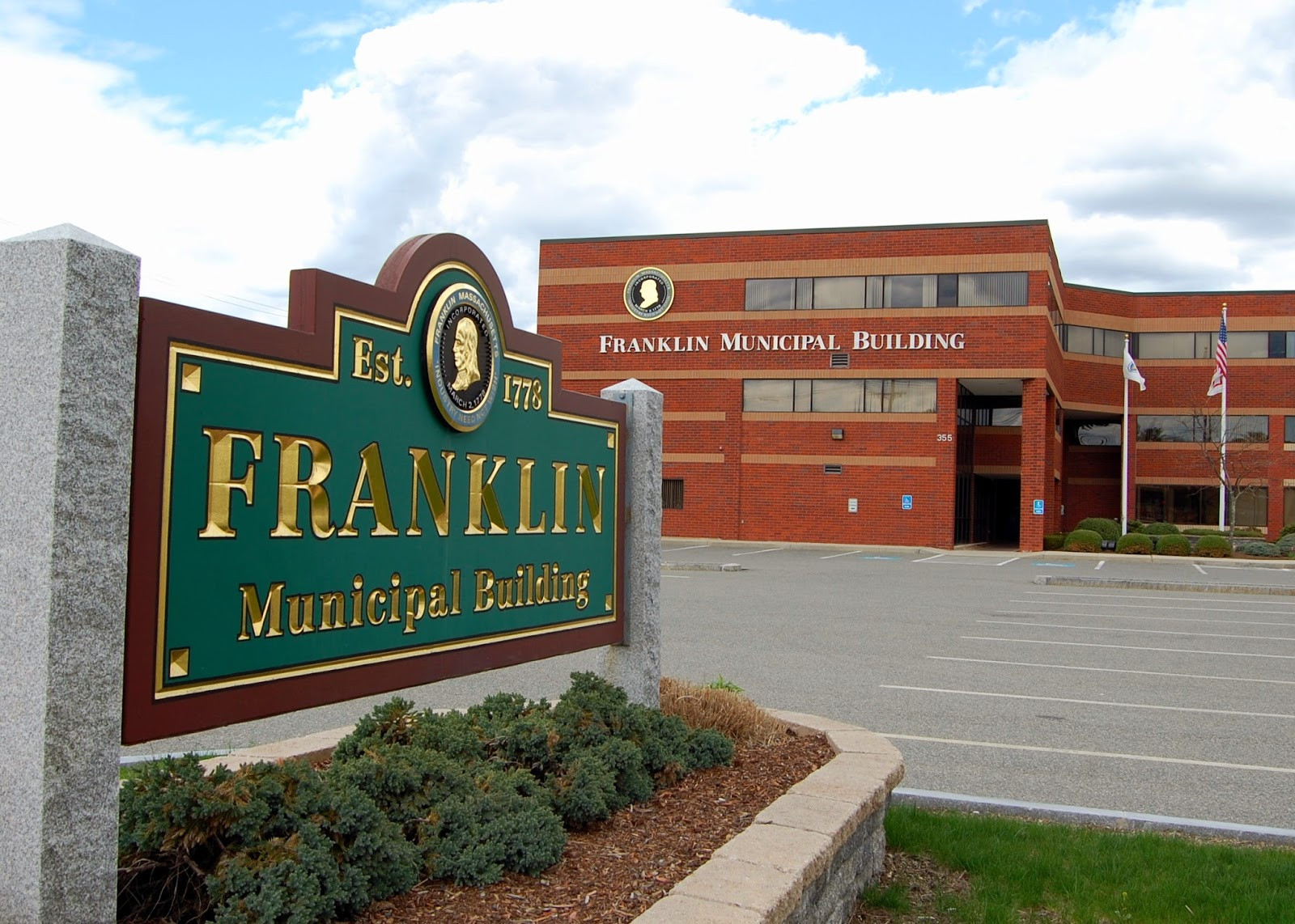 Franklin Municipal Building, location of the town offices and site of the Town Council meeting