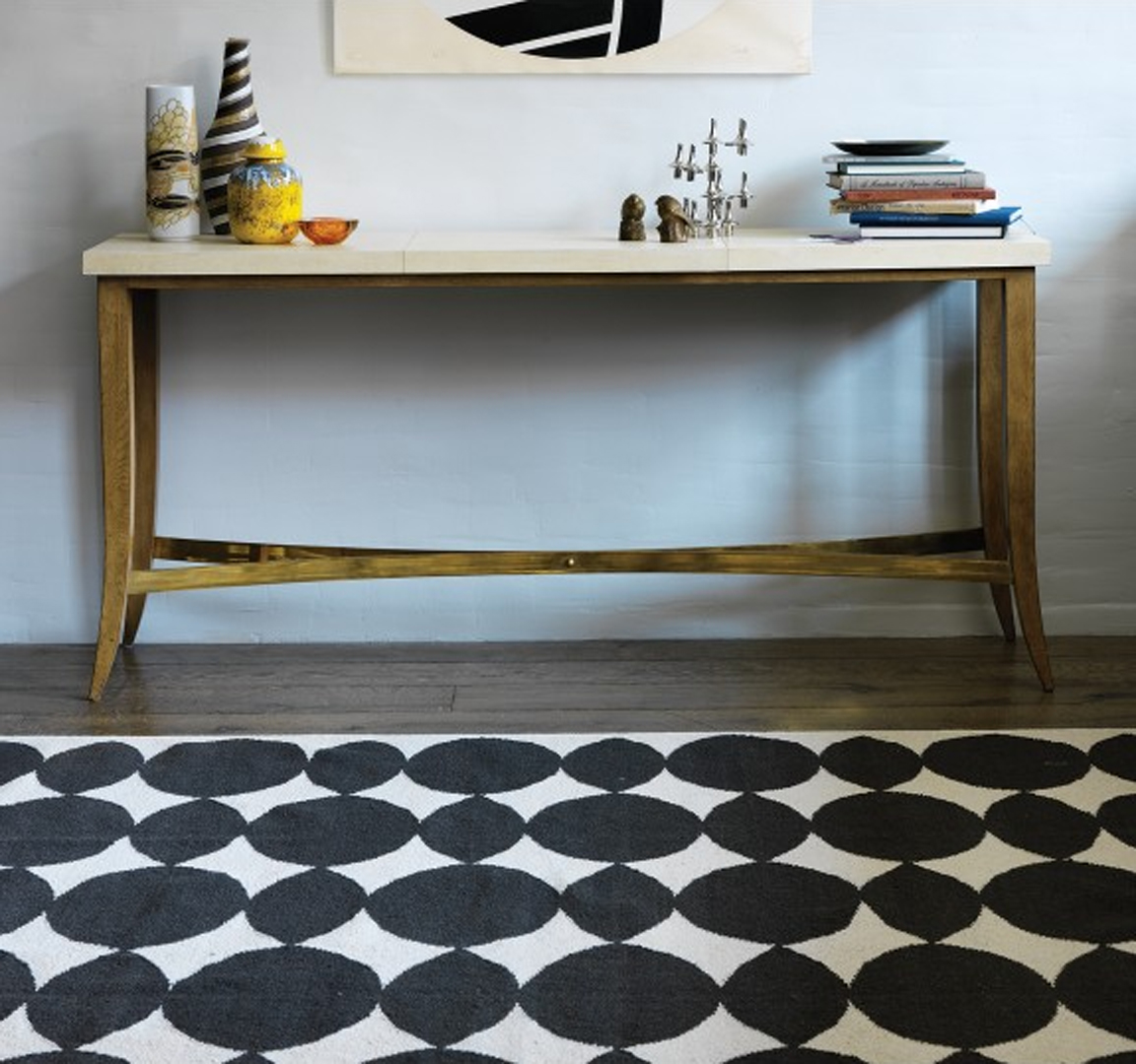 black white yellow dwell studio almond inks rug