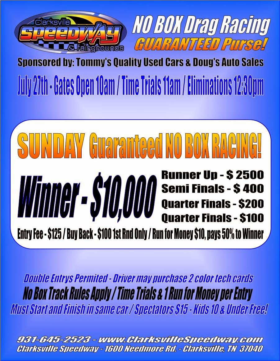 $10,000-to-win No-Box at Clarksville Speedway
