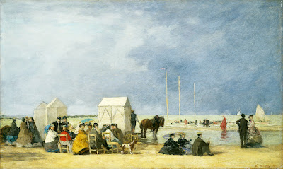 Eugène Boudin - bathing time at Deauville,1865.