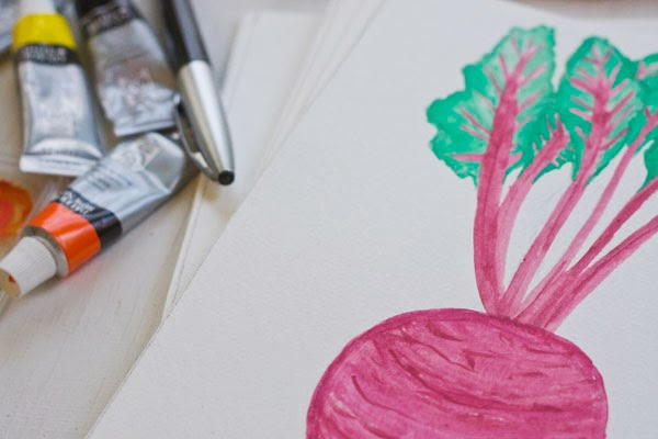 Beet watercolor painting