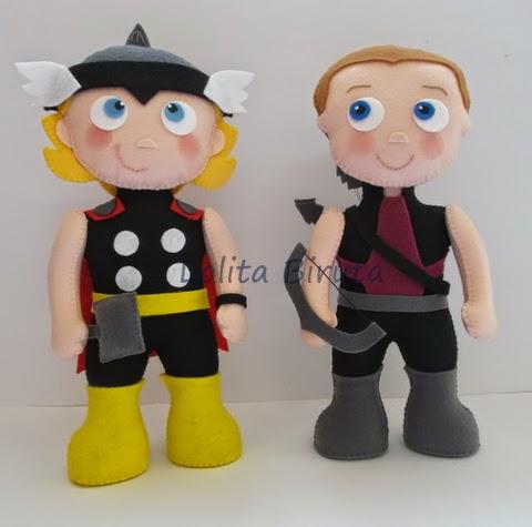 Thor e Gavião arqueiro em feltro