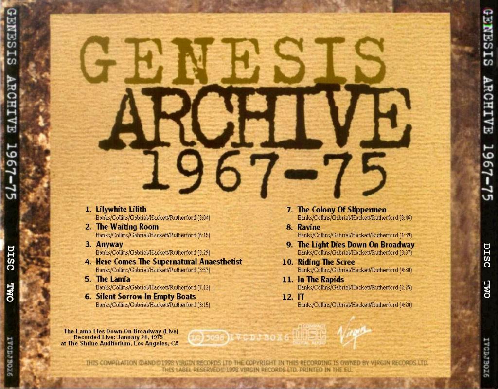 GENESIS - ARCHIVE 1967–75 ALBUM LYRICS