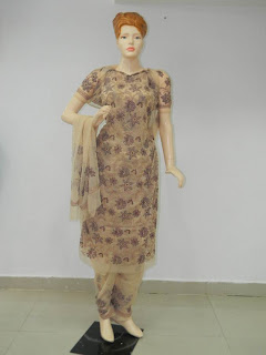 Lucknowi Chikan  Brown Blue Georgette Dress Material