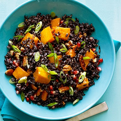 Black Rice Salad with Butternut Squash & Pomegranate Seeds recipe