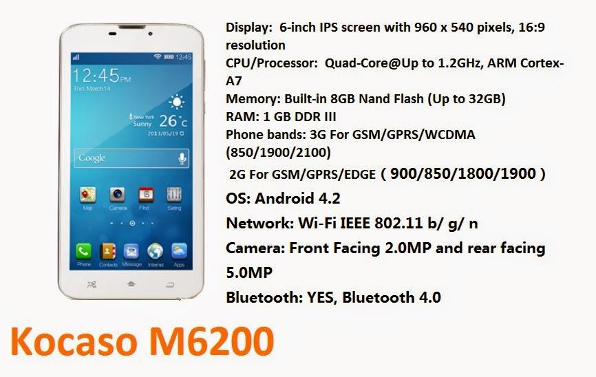 Kocaso M6200 – 6 inch quad-core tablet