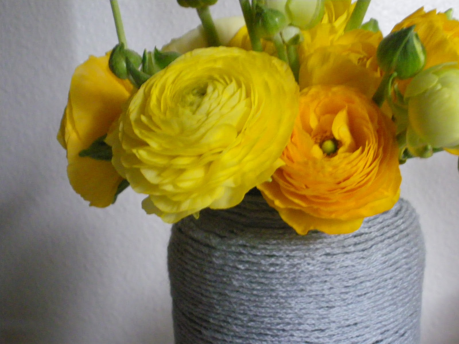 The Scarf And Stripe Gray And Yellow Yarn Vase Still Life