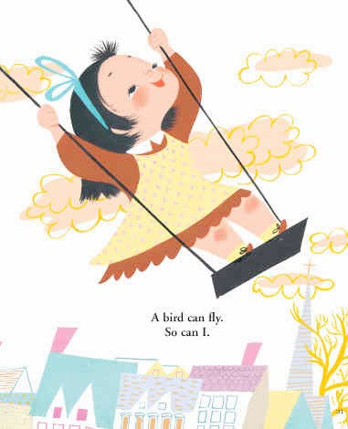 little girl on a swing from Mary Blair I can fly book illustration