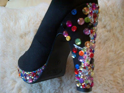 Crystal heel platform shoes