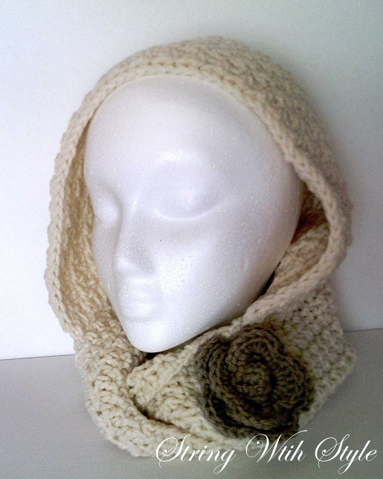 Free Crochet Pattern For Infinity Scarf With Hood : String With Style: Infinity Hooded Scarf