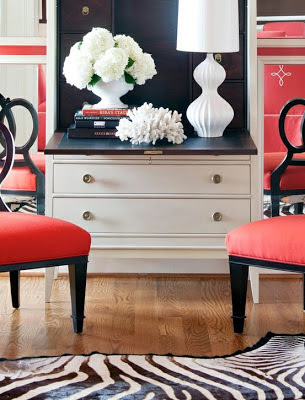 red furniture with black