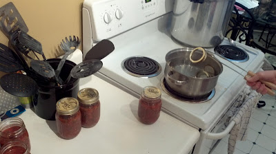 boiling the lids before pressure canning, salsa, jars