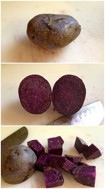Organic purple potato sliced in half and chopped
