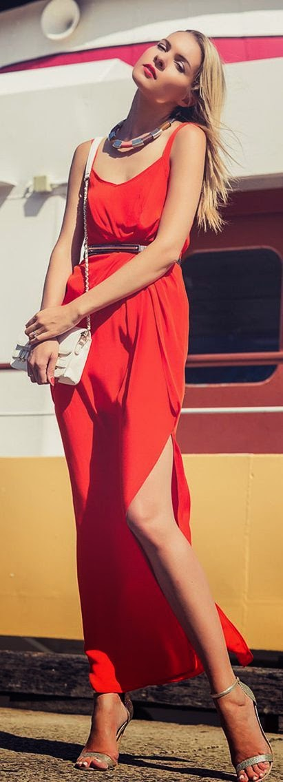 Split Maxi Red Dress Summer Streetstyle