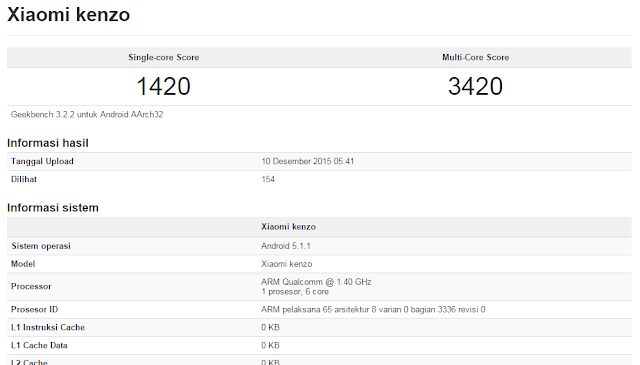Xiaomi Kenzo muncul dipatokan Geekbench, mungkikah ini Xiaomi Redmi 3?