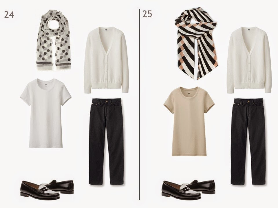 2 outfits of a white cardigan and black jeans, one with a white tee shirt, and one with a beige tee shirt, each with a patterned scarf and black and white penny loafers