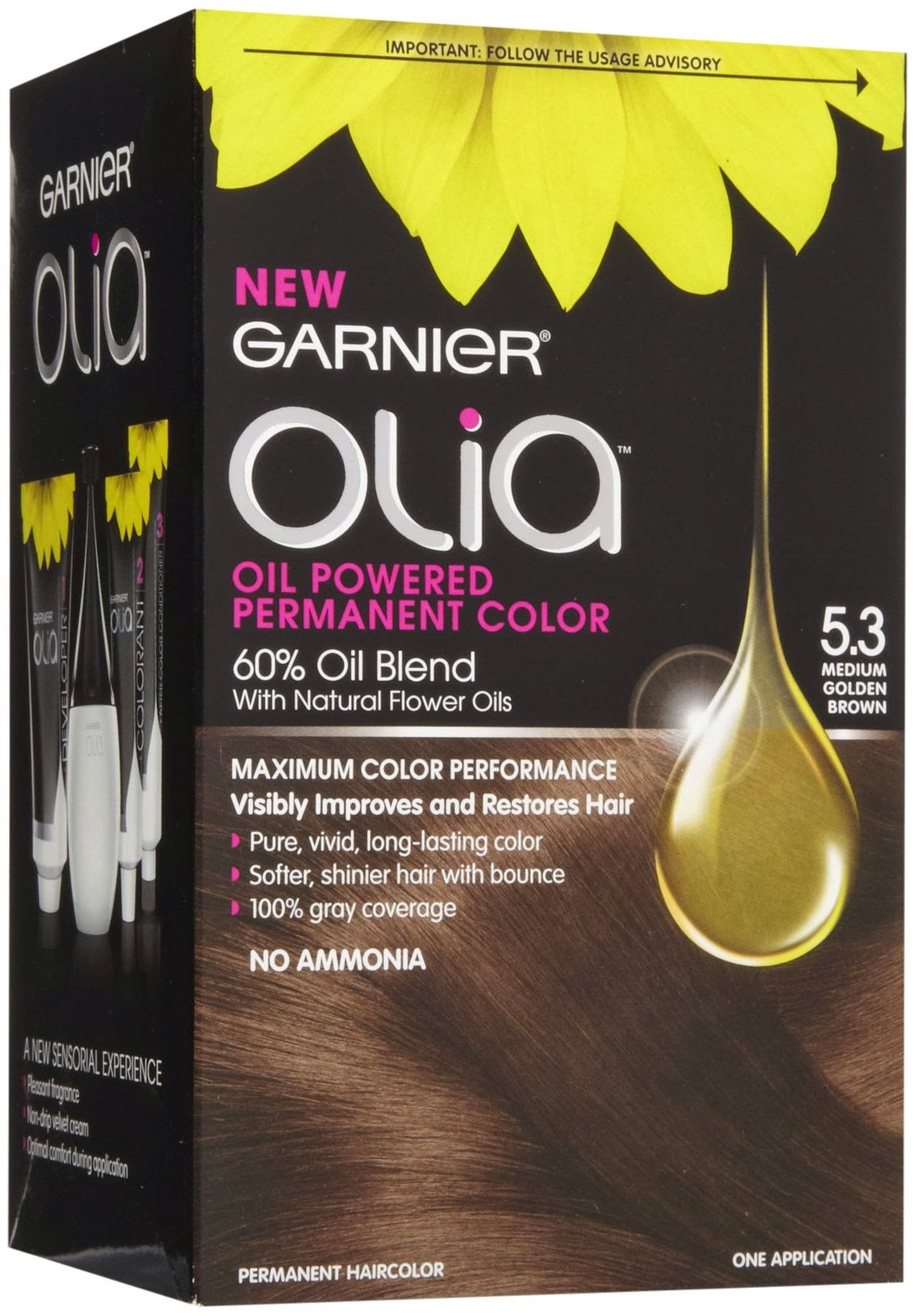 Garnier olia permanent hair colour golden brown 5 3 - The Smell Is The Dye Is Great It Does Not Contain Any Ammonia And It S Made With An Oil Blend As The Box Says It Did Leave My Hair Feeling Smooth And