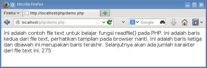 tampilan fungsi readfile berhasil
