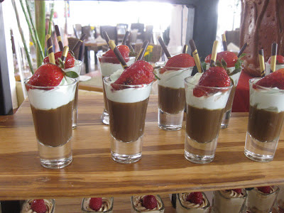 chocolate cream parfait in individual glasses on a buffet table