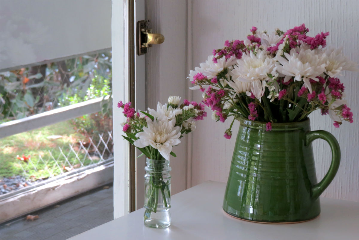 jars with flowers