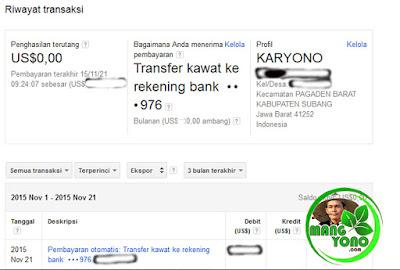Pembayaran Transfer ke Rekening Bank