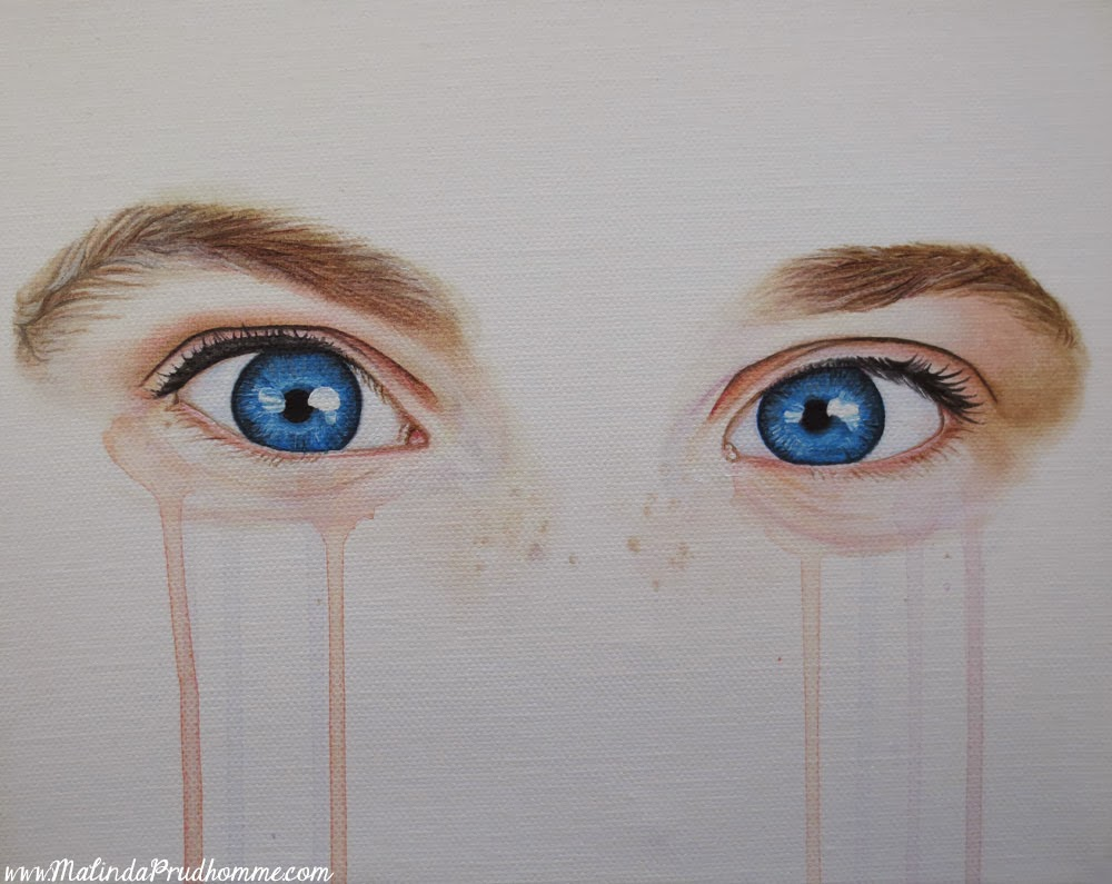 custom eye painting, blue eyes, realistic eyes, custom artwork, original artwork, freckles, malinda prudhomme, toronto artist, full time artist, mixed media art, mixed media artist