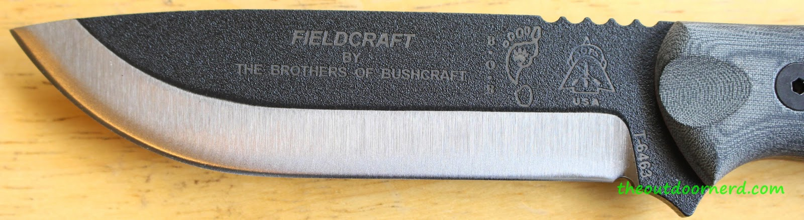Tops Fieldcraft BOB Fixed Blade Knife: Closeup Of Blade