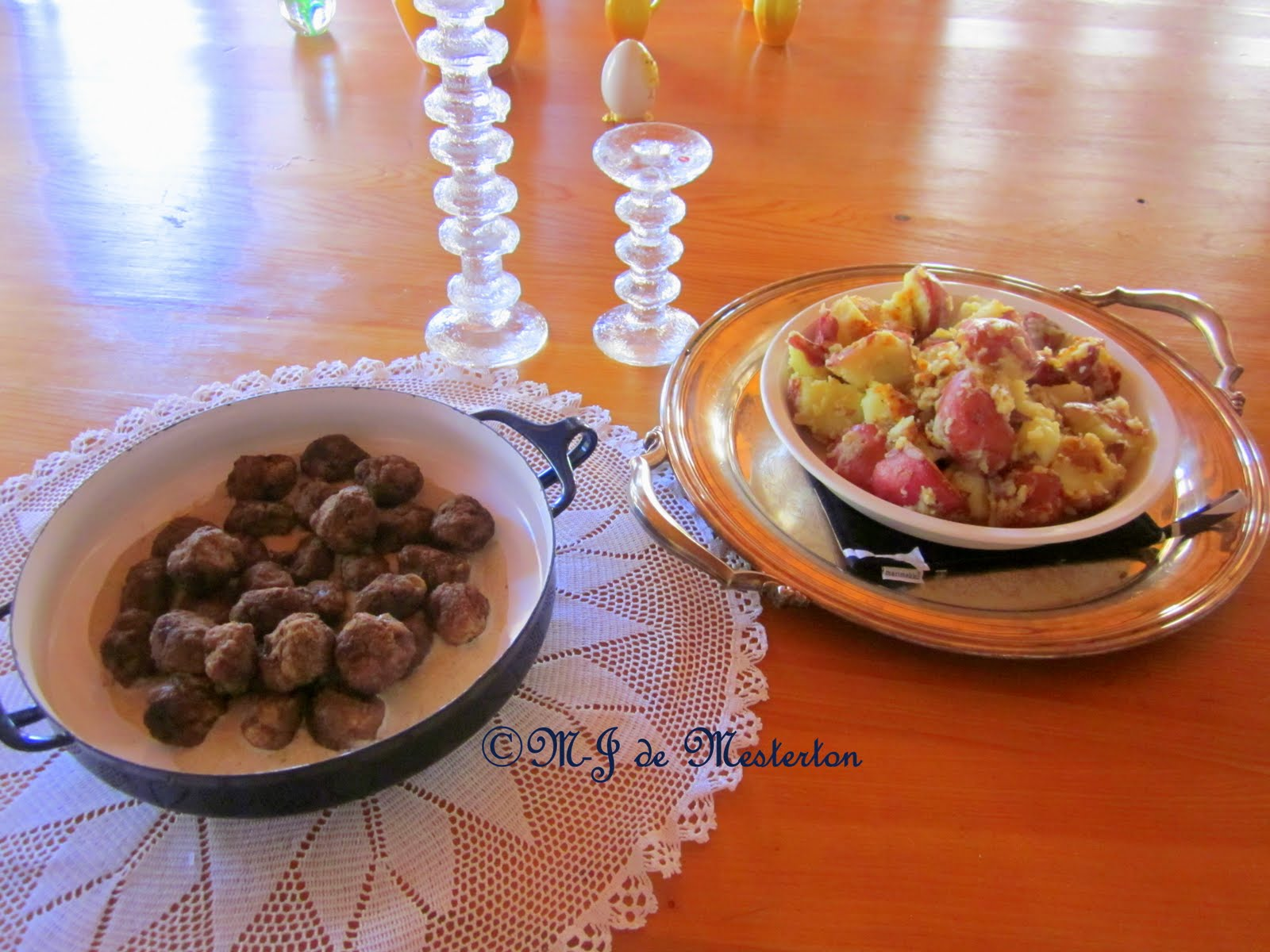 Serve Swedish meatballs with new potatoes and perhaps a little