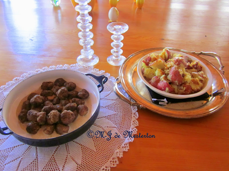 Serve Swedish meatballs with new potatoes and perhaps a little  title=