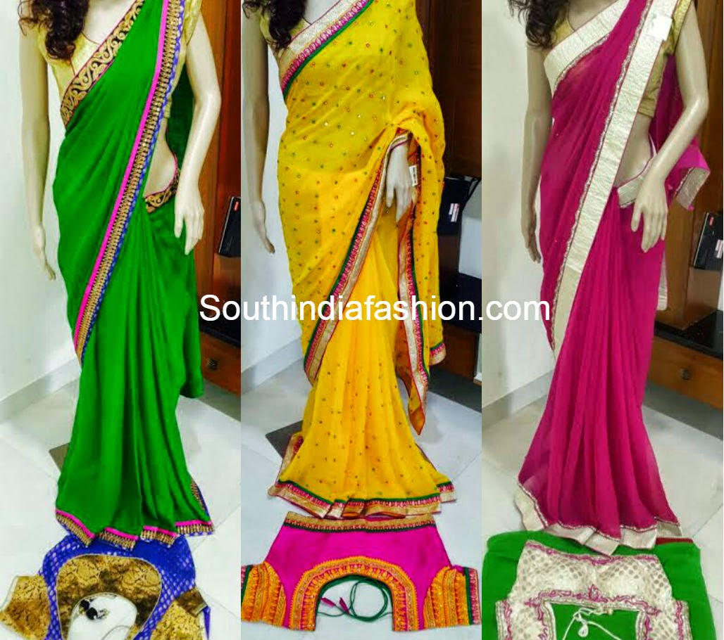 designer sarees with readymade blouses