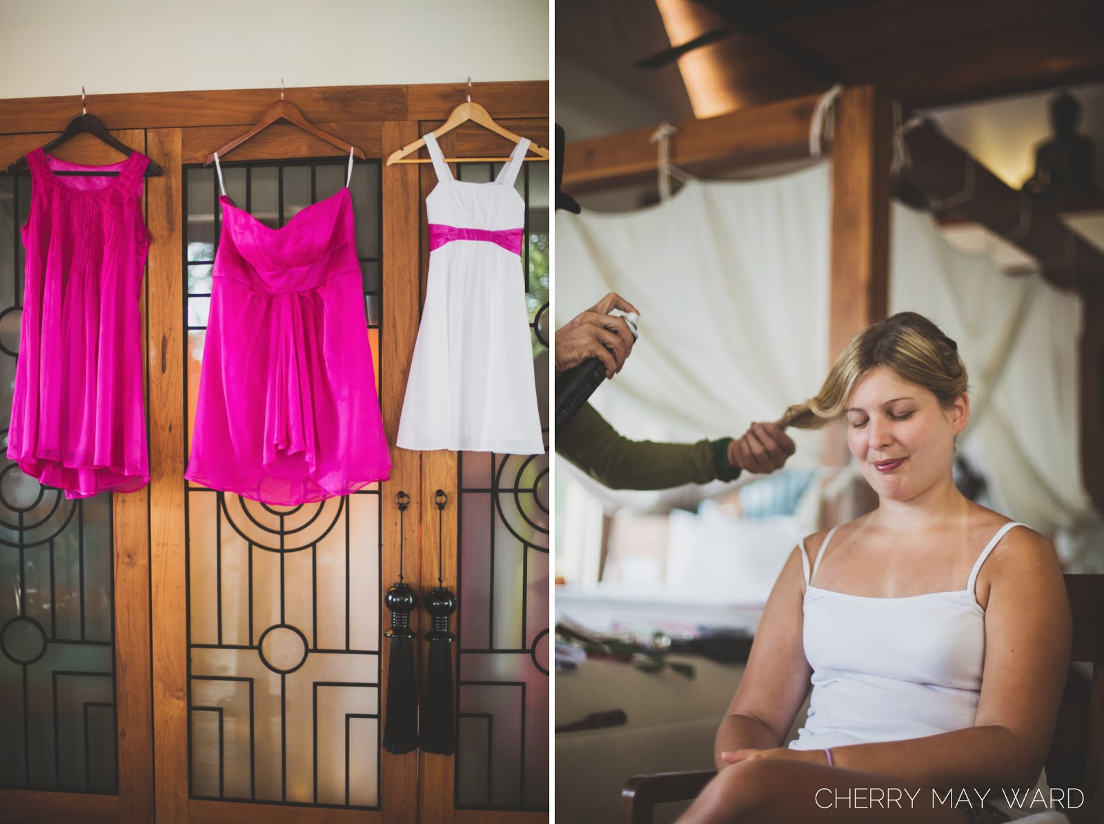 Koh Samui hair stylist, bridesmaid and flower girl dresses handing up,