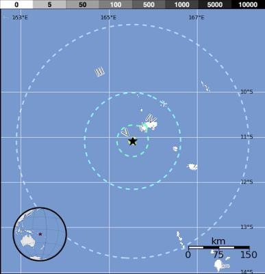 Epicentro sismo 6,0 grados en islas Santa Cruz, el 01 de Febrero de 2013