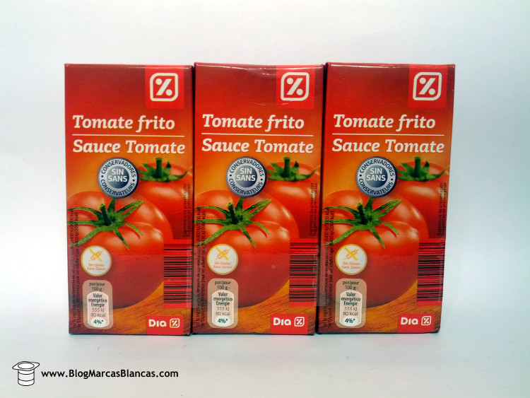 Tomate frito en brik Dia fabricado por Industrias Alimentarias de Navarra (IAN).