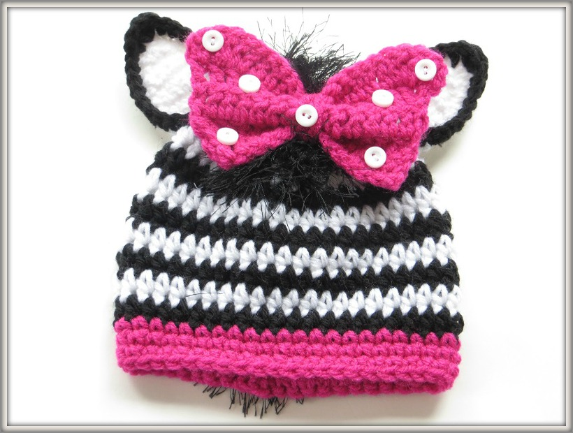 Knitting Pattern For Zebra Hat : Crochet Dreamz: Zebra Beanie Crochet Pattern for Boys or Girls in Newborn to ...