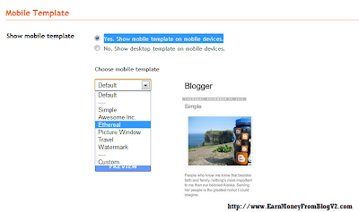 enable mobile version blogspot template