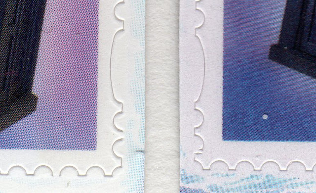 Detail showing perforation bridges on Tardis stamps.
