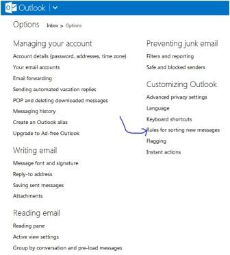 Inbox-->Options-->Rules for sorting new mails