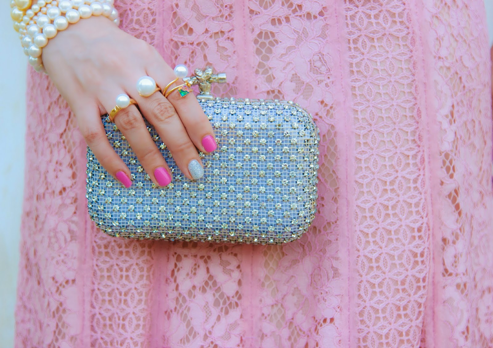 Crystal embellished box clutch, Pearl rings