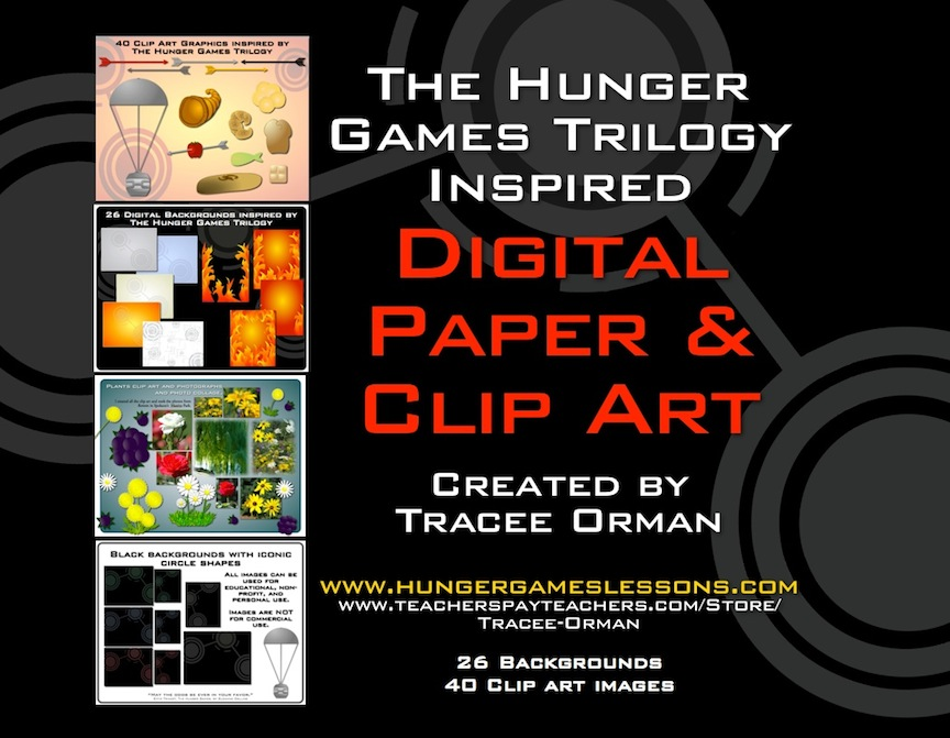 Hunger Games Lessons: Hunger Games Inspired Digital Paper and Clip Art