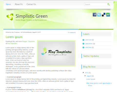 Simplistic Green Blogger Theme