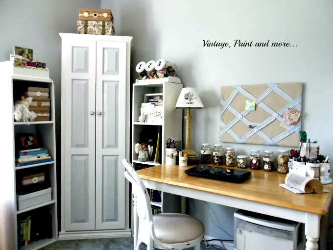 Vintage, Paint and more... vintage craft space, recycled farmers table, vintage bentwood chair, recycled decorative storage