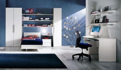 habitación juvenil azul