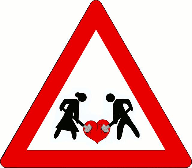Advarsels-skilt: Kvinde og mand graver i kærlighedens hjerte