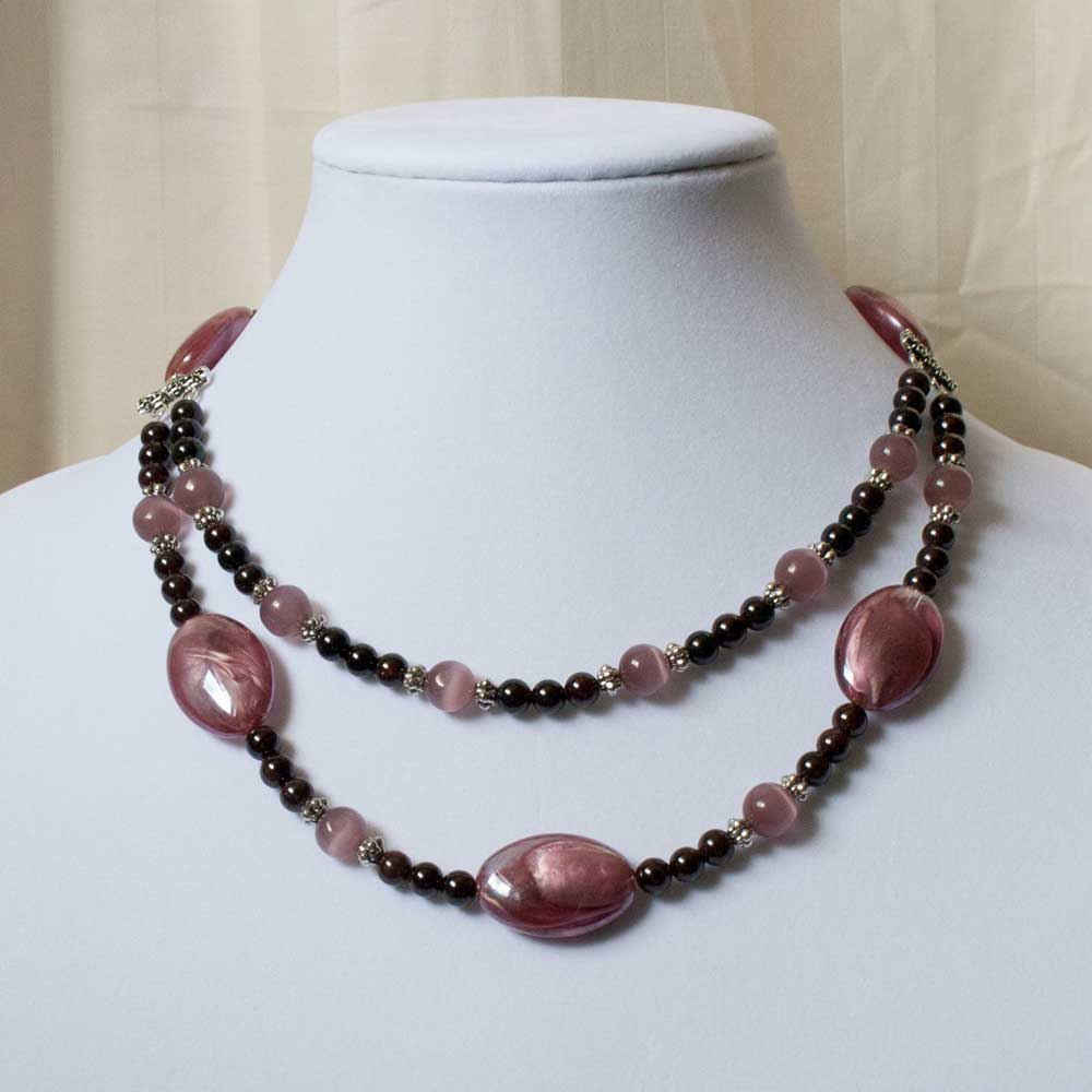 Amethyst Multi Strand Beaded Necklace by Beading Owl
